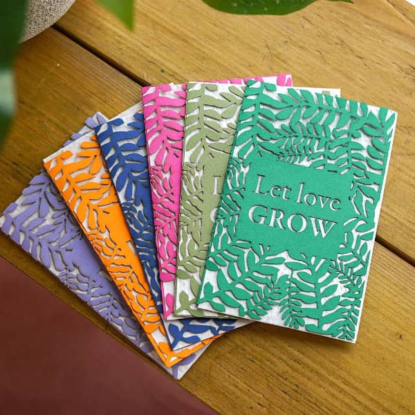 colorful Let Love Grow paper cut cards