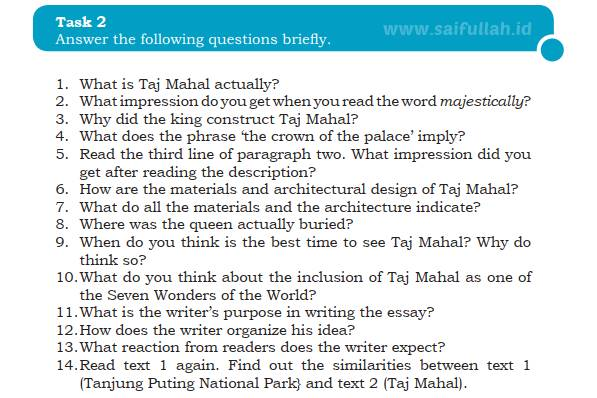 Kunci Jawaban Soal Bahasa Inggris Chapter 4 Task 2 Halaman 59 Taj Mahal Saifullah Id