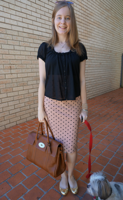 french connection sheer top and pink polka dot pencil skirt for work