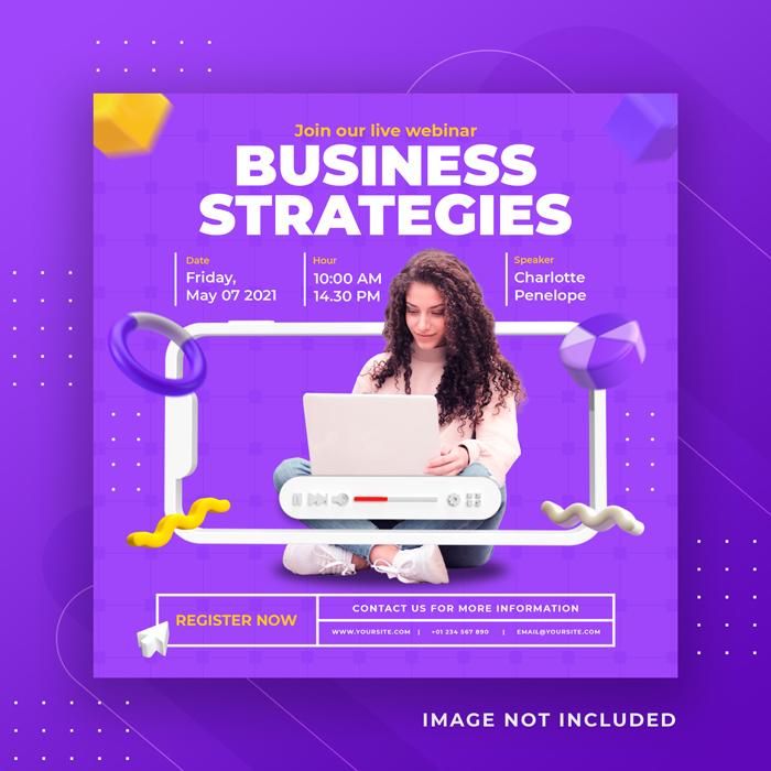 Live Streaming Business Workshop Social Media Post Instagram Template 5