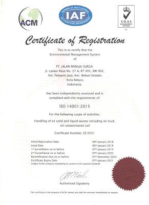 PT Jalan Menuju Surga telah bersertifikat  ISO 14001