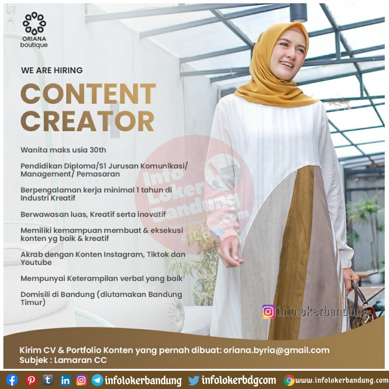 Lowongan Kerja Content Creator Oriana Boutique Bandung Desember 2020