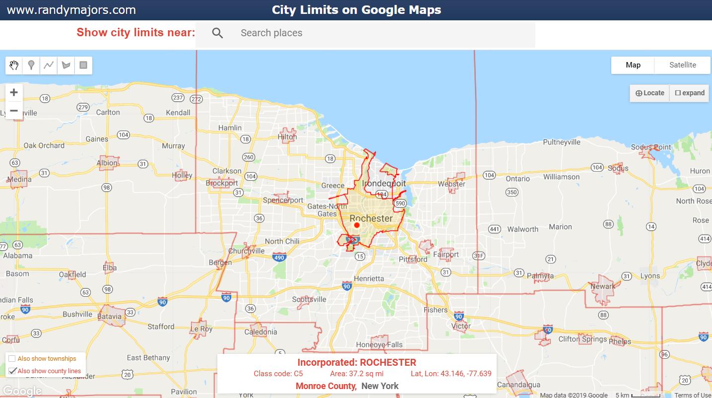 City Limits on Google Maps