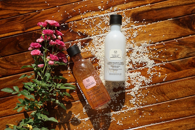 The Body Shop British Rose Petal-Soft Gel and The Body Shop Chinese Ginseng and Rice Clarifying Milky Toner Review