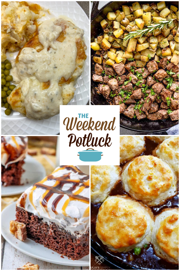 A virtual recipe swap with Baked Chicken & Ranch Dinner, Steak Bites & Potatoes, Snickers Poke Cake, Biscuit Topped Beef Pot Pie and dozens more!