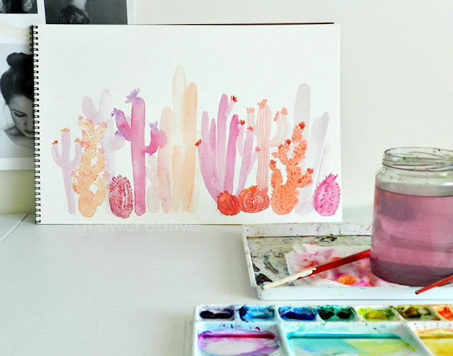Pink and Orange Cactus Painting by Elise Engh: Grow Creative Blog
