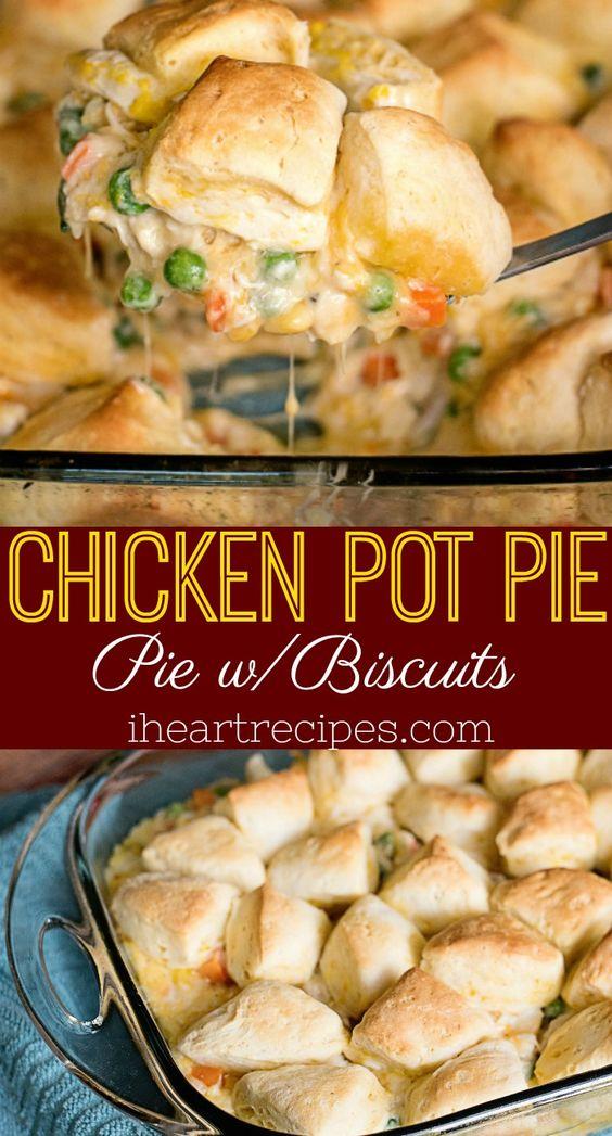 CHICKEN POT PIE WITH BISCUITS #chicken #chickenrecipes #potpie #biscuits #dinner #dinnerrecipes #dinnerideas