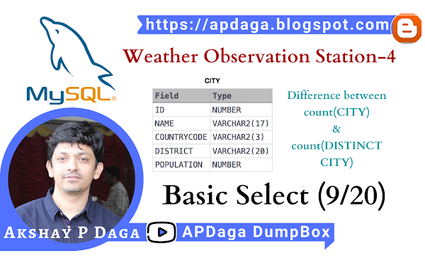HackerRank: [Basic Select - 9/20] Weather Observation Station-4 | Difference between total & distinct cities counts