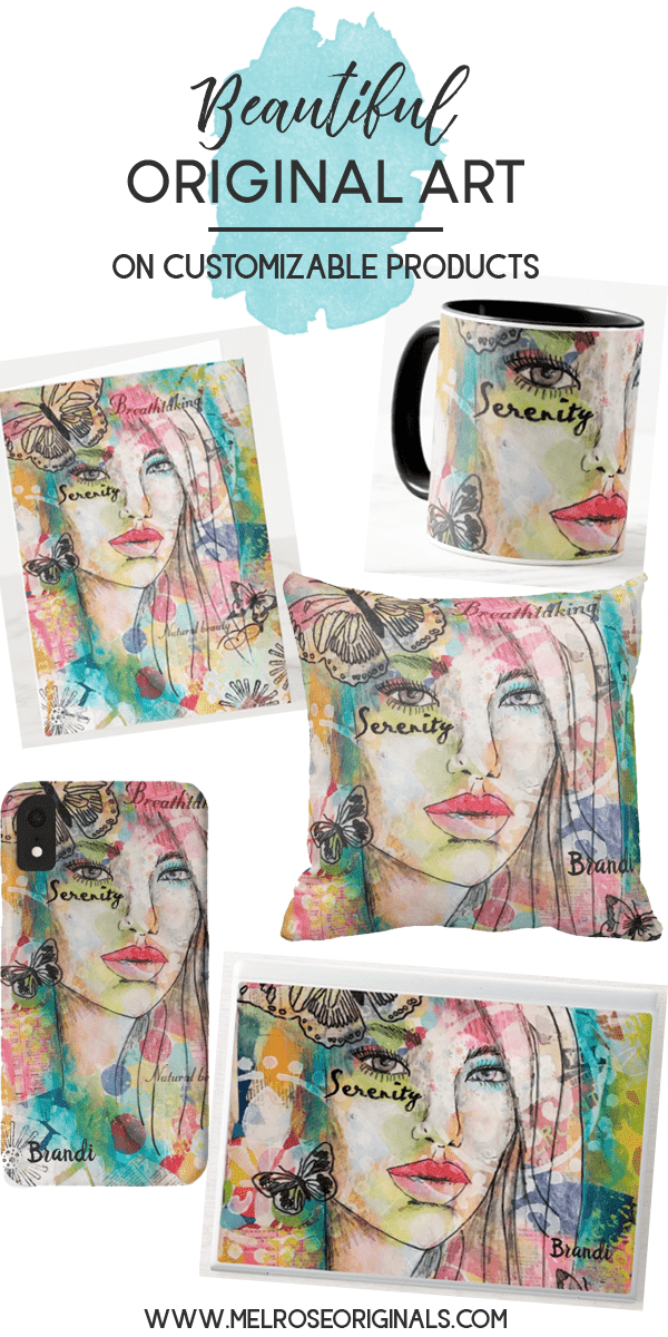 images of custom products featuring a whimsical girl on a colorful background with butterflies