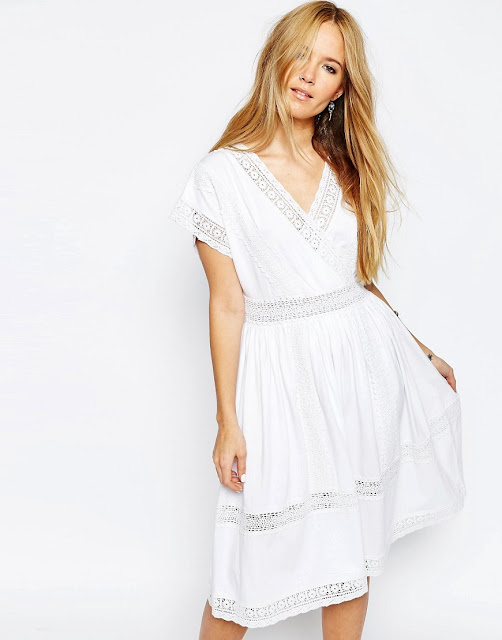white lace trim wrap dress