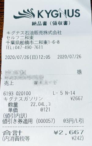 キグナス セルフ二和東SS 2020/7/26 のレシート