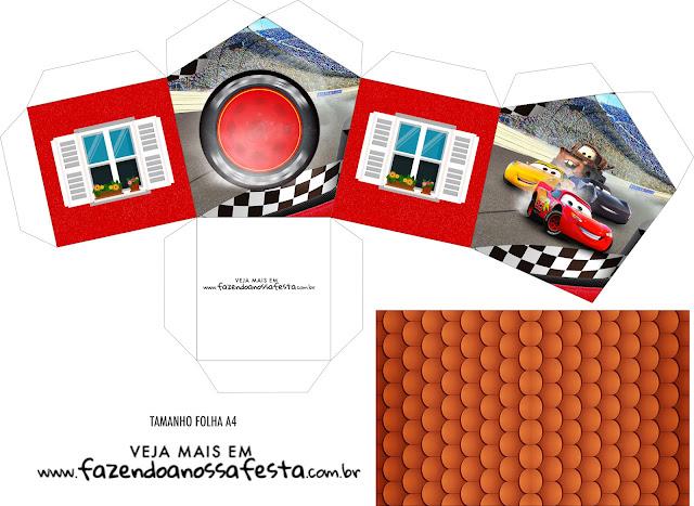 Cars 3: Free Printable House Shapped Box.