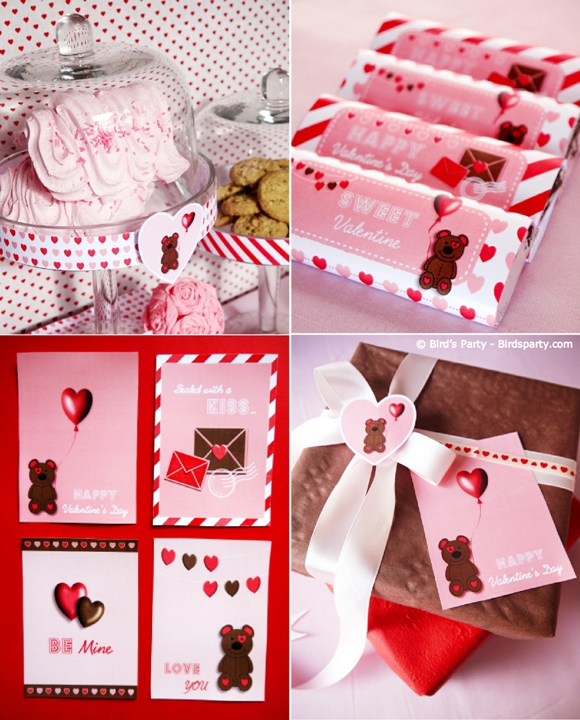 Valentine's Day Party Ideas - Pink and Red Cookies and Milk Party and Printables - BirdsParty.com