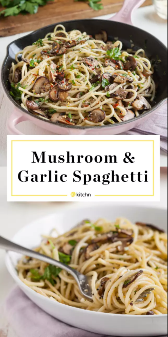 Mushroom and Garlic Spaghetti Dinner