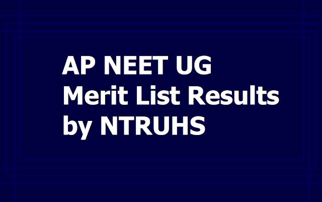 AP MBBS, BDS Merit list Results 2019 & Certificates verification, Web options Entry Dates