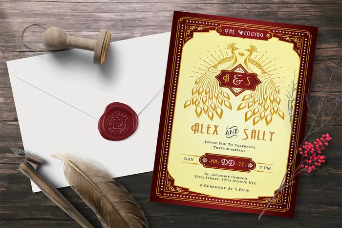 Art Deco Ticket Wedding Invitation Ai and Psd Bundle  4