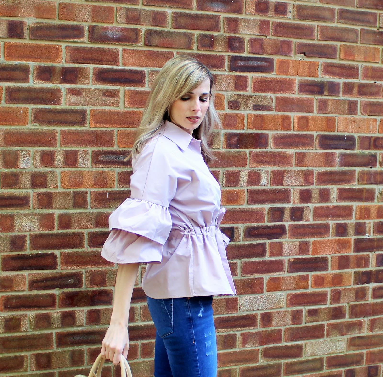 OOTD featuring a ruffled Shein blouse in blush pink - 1