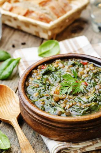 Simple Lentils Spinach Soup