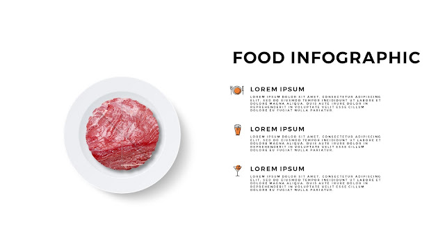 Food Infographic Elements of Beef for Powerpoint Template with White Background