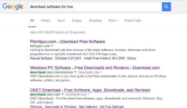 This time I will be reviewing the 3 best sites place download software version of Google. With the keyword download software for free, only the site provides official software which I will discuss, and not including software download site that is illegal. This is the 3 best site download free software to your PC. I am currently accessing Google search from location Indonesia, august 24, 2016, at approximately 8.22 am GMT+7 (Jakarta time).