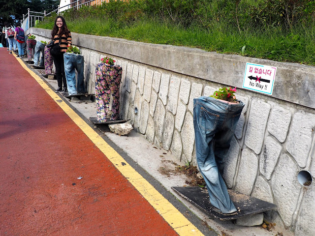 Trousers / pants made into flower pots in Gamcheon Village, Busan, South Korea