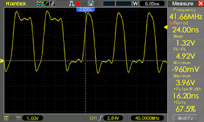 Square wave output when state machine frequency set to 80 MHz