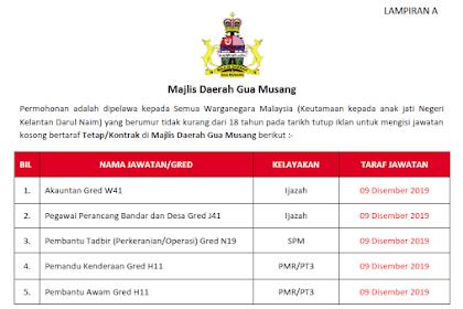 Jawatan Kosong Kerajaan di Majlis Daerah Gua Musang | Tarikh Tutup: 09 Disember 2019