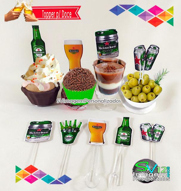 Heineken Festa Boteco dica decoração , os preços mais baratos para personalizados topper para doce e cupcake