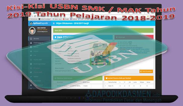 Kisi-Kisi USBN SMK / MAK Tahun 2019 Tahun Pelajaran 2018-2019