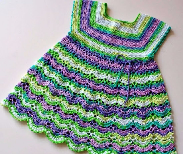 Colorful crochet dress with free pattern
