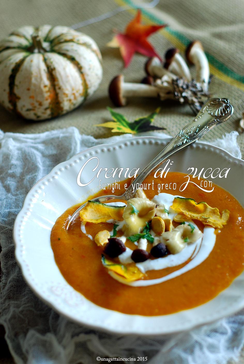 Crema di zucca con funghi e yogurt greco pumpkin and for Cucinare yogurt greco