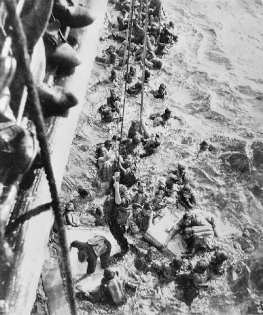Bismarck survivors being rescued in May 1941 worldwartwo.filminspector.com