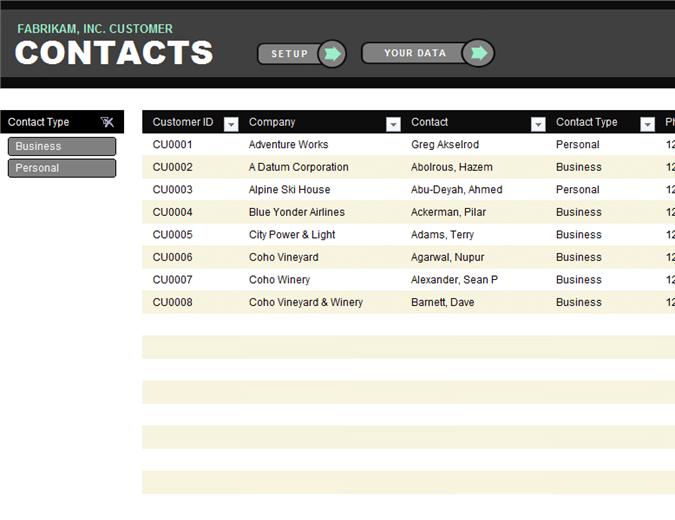 Customer contact list template QTitTemplatescom