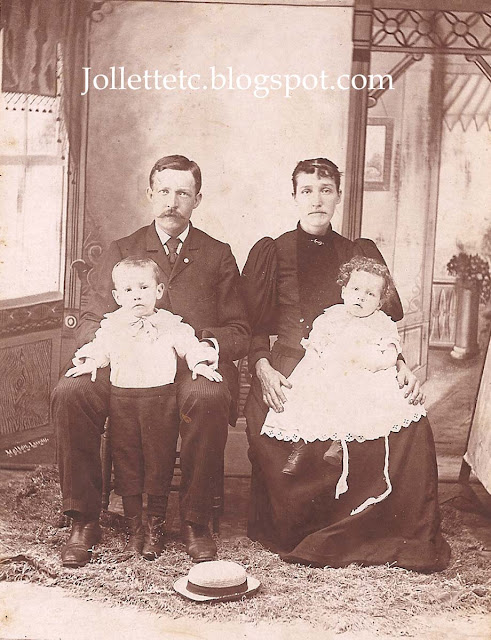 George Clift and Sallie Jollett Clift with Vernon and Daisey about 1895 https://jollettetc.blogspot.com