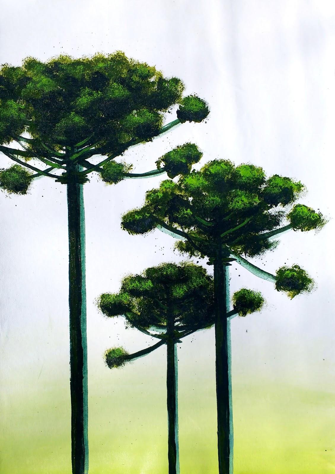 Araucaria IV quadro em acrílico sobre tela com tema do Paraná