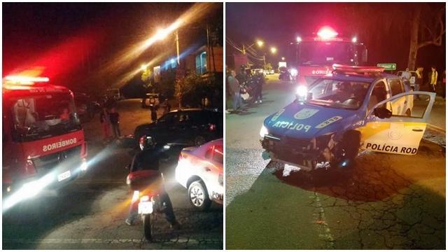 Viatura da Polícia Rodoviária é atingida por veículo na RJ-130, estrada Friburgo - Teresópolis