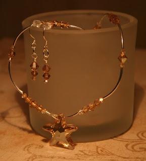 Sleeping Beauty necklace & earrings set - Sterling Silver, Swarovski crystals, Swarovski Heart::All Pretty Things