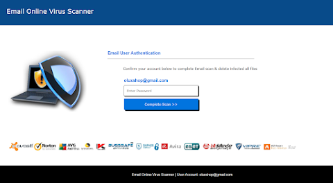 Email Online Virus Scanner scama page