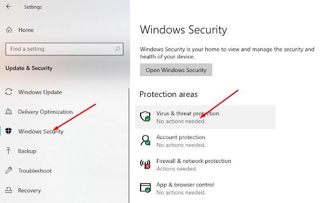 Virus & threat protection.