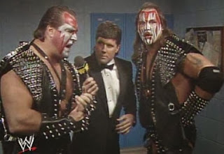 WWF / WWE: Wrestlemania 6 - Demolition are interviewed by Sean Mooney about their tag team title shot against The Colossal Connection