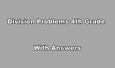 Division Problems 4th Grade With Answers