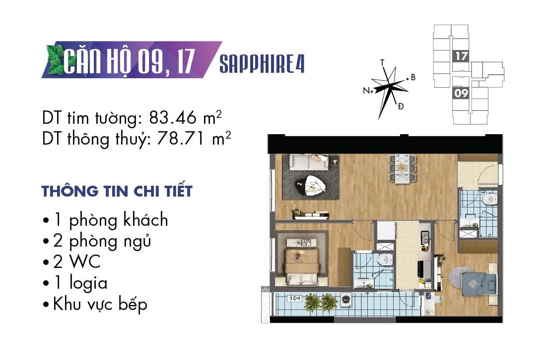 Mặt bằng căn hộ 09 và 17 tòa Sapphire 4