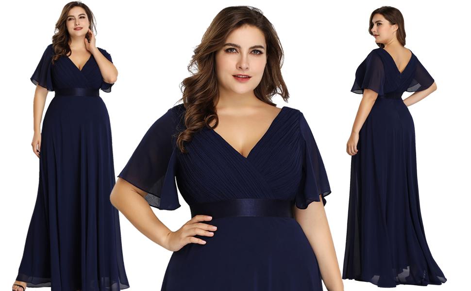 Plus Size Double V-Neck Evening Party Maxi Dress