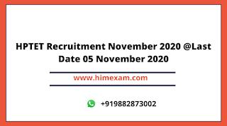 HPTET Recruitment November 2020 @Last Date 05 November 2020