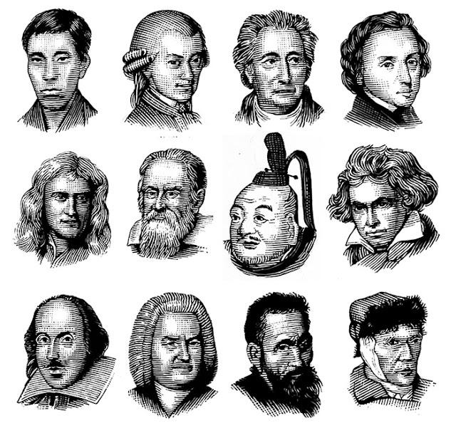 人物イラスト、スクラッチイラスト、高杉晋作、モーツァルト、ゲーテ、ショパン、ニュートン、ガリレオ・ガリレイ、徳川家康