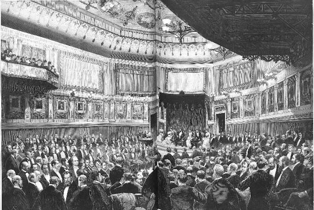 Acto de inauguración, celebrado el 31-1-1884, de la nueva sede del Ateneo de Madrid sita en la calle Prado (dibujo publicado en La Ilustración Española y Americana, 8-2-1884)