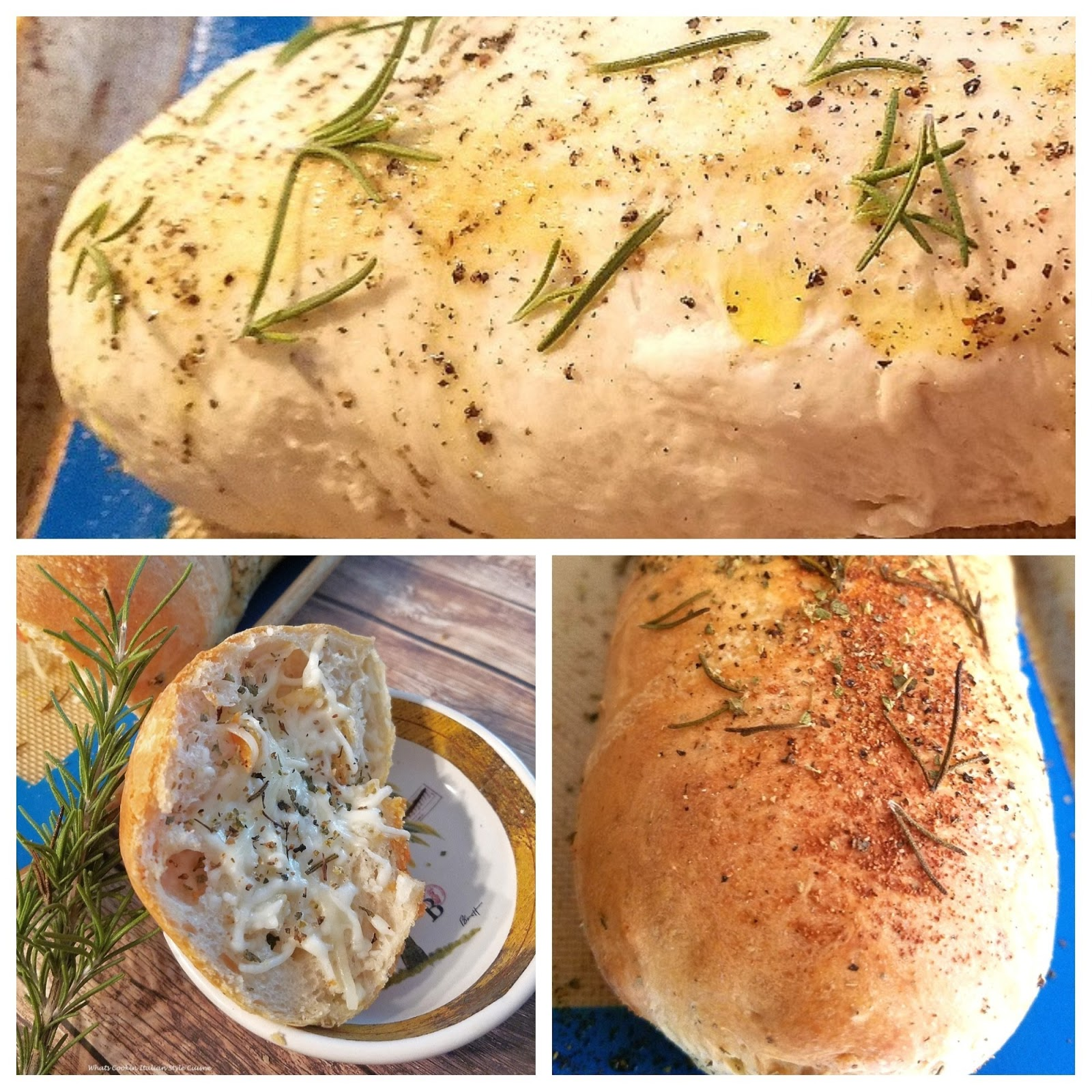 This is delicious pizza dough stuffed with cheese and fresh herbs. A  homemade bread dough that was mom's recipe. This is called a focaccia and italian herb bread that is stuffed with cheese. Rosemary is a main herb flavored in this bread along with black pepper and fresh basil.