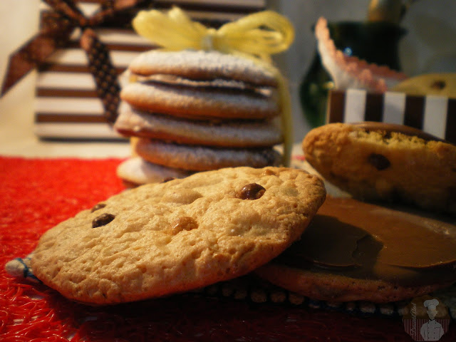 Galletas de crema de cacahuete con chocolate