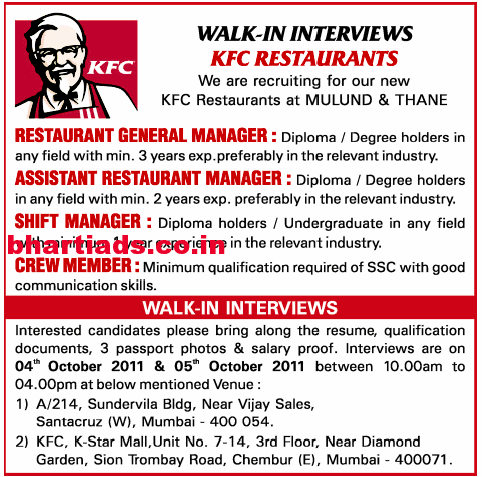 KFC Job Ads Examples Good on job advertisements in newspapers, job brochures examples, job interest email, job openings, biographies examples, job poster examples, job applications examples, blogs examples, services examples, job design examples, surveys examples, finance examples, job section in newspaper, job announcements examples, job wanted, job skills and goals, research examples, job advertising examples, advertisement examples, business examples,