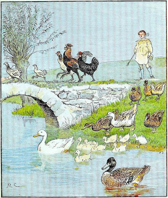 a Randolph Caldecott children's book illustration of ducks and chicken in procession